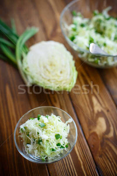 Saláta friss tavasz káposzta zöld hagymák Stock fotó © Peredniankina