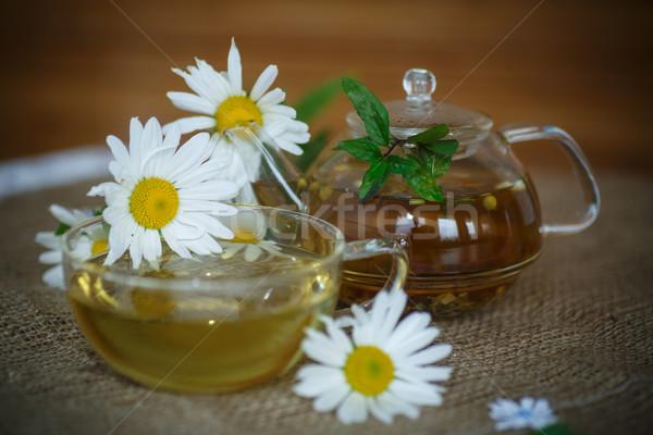 Camomila chá tratamento mesa de madeira natureza folha Foto stock © Peredniankina