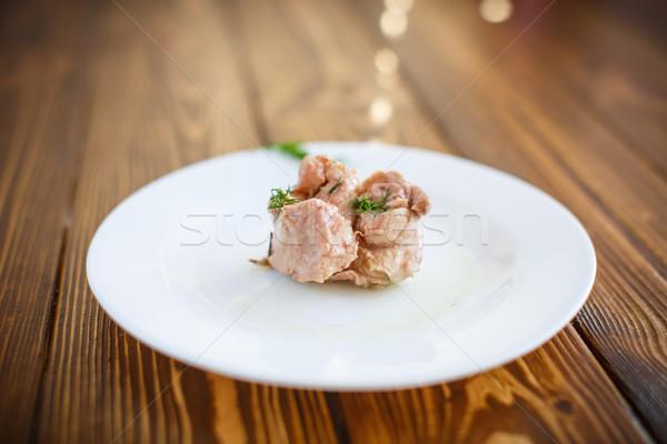 Darab máj fehér tányér olaj saláta Stock fotó © Peredniankina