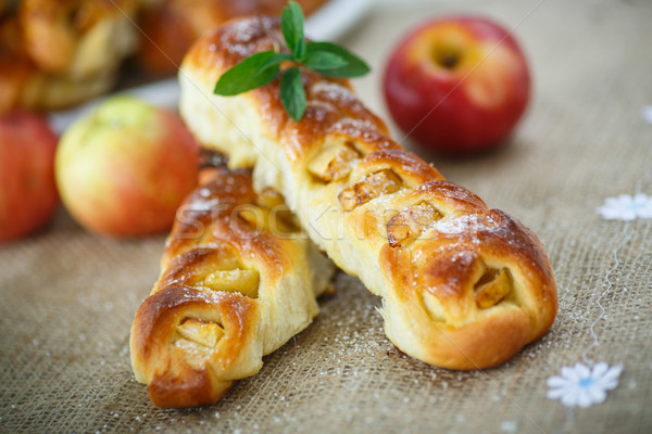 baked braided pigtails with apples Stock photo © Peredniankina