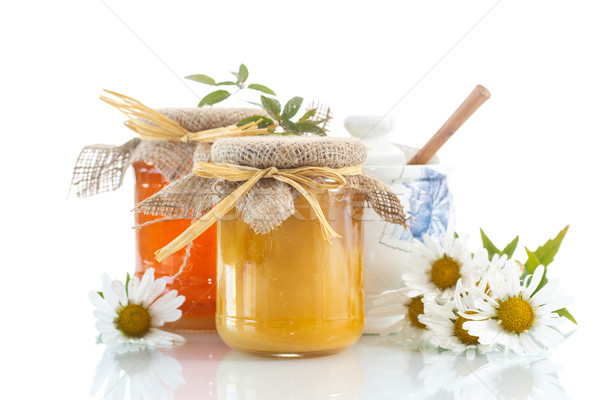 Miele vitamina fresche vetro jar bianco Foto d'archivio © Peredniankina