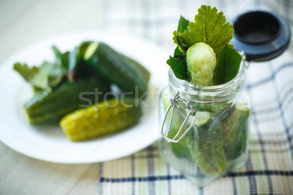 Salatalık salatalık otlar baharatlar cam Stok fotoğraf © Peredniankina