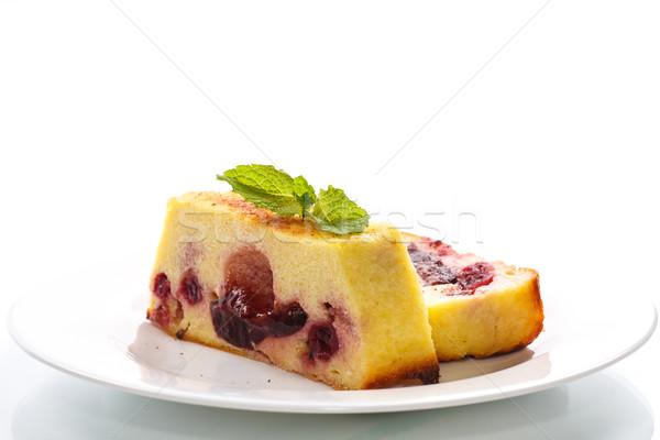 Сток-фото: творог · пирог · Ягоды · украшенный · мята · продовольствие