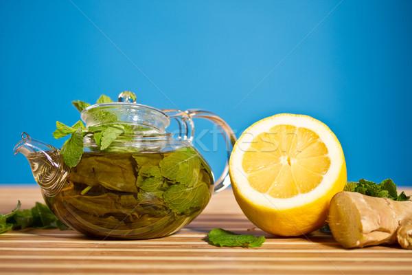 зеленый чай мята имбирь свежие синий лист Сток-фото © Peredniankina