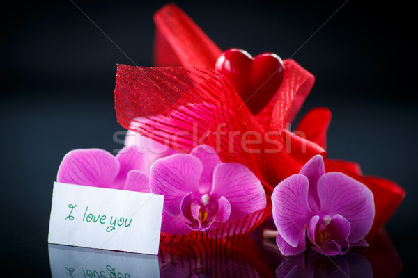 Phalaenopsis line with a declaration of love  Stock photo © Peredniankina