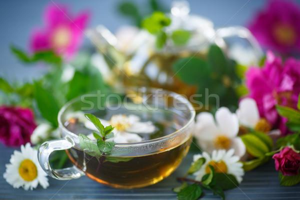 Té de hierbas flor té diferente flores tetera Foto stock © Peredniankina