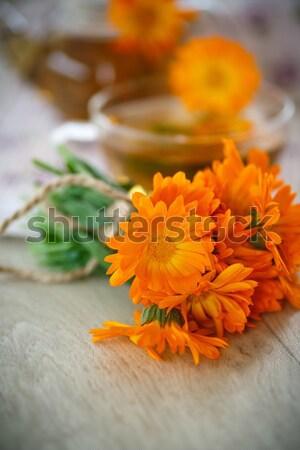 Herbal tea with marigold flowers Stock photo © Peredniankina