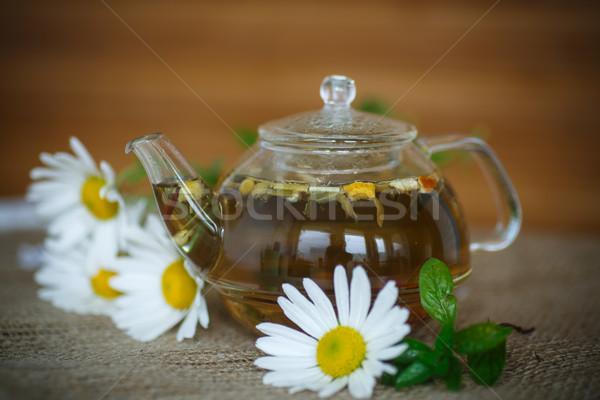 Kamille thee behandeling houten tafel natuur blad Stockfoto © Peredniankina