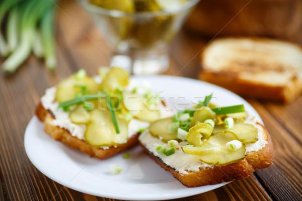 Vegetariano sanduíche queijo picles ervas tabela Foto stock © Peredniankina