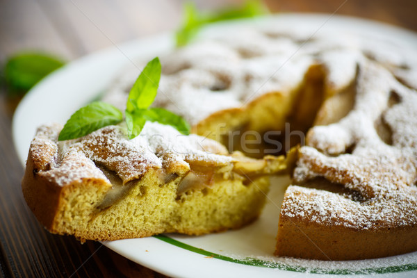 cake with pears in powdered sugar Stock photo © Peredniankina
