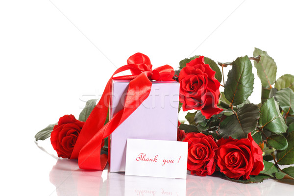 Stock photo: gift with flowers and gratitude