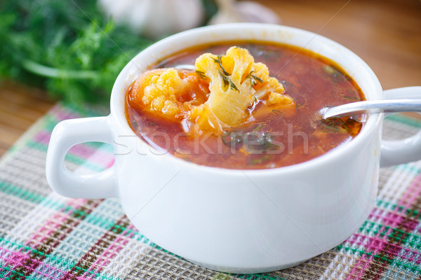 vegetable soup with cauliflower and beets Stock photo © Peredniankina