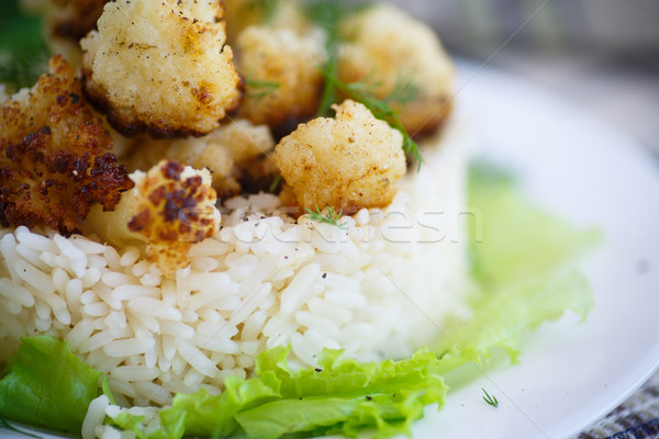Frit chou-fleur bouilli riz accompagnement alimentaire Photo stock © Peredniankina