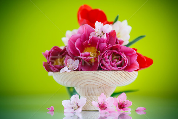 Gyönyörű tulipánok váza zöld virág szeretet Stock fotó © Peredniankina