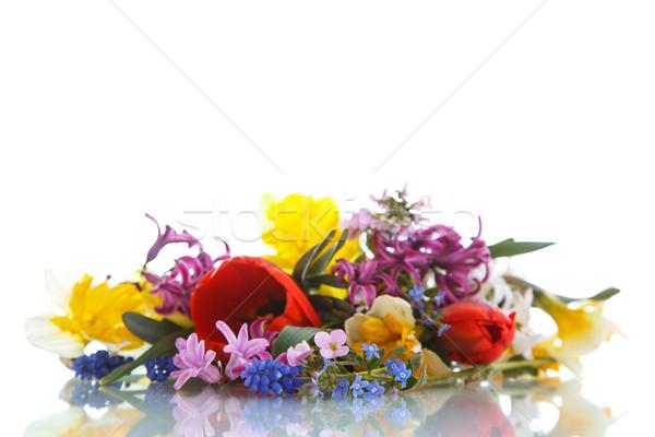 Gyönyörű virágcsokor tavaszi virágok fehér húsvét virág Stock fotó © Peredniankina