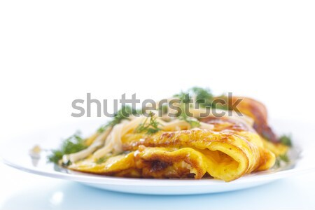 scrambled eggs with fresh herbs Stock photo © Peredniankina