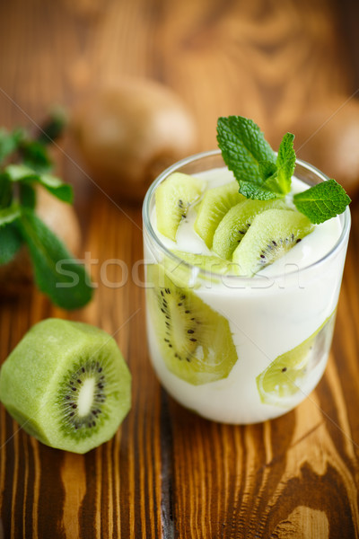 Greek yogurt with kiwi Stock photo © Peredniankina