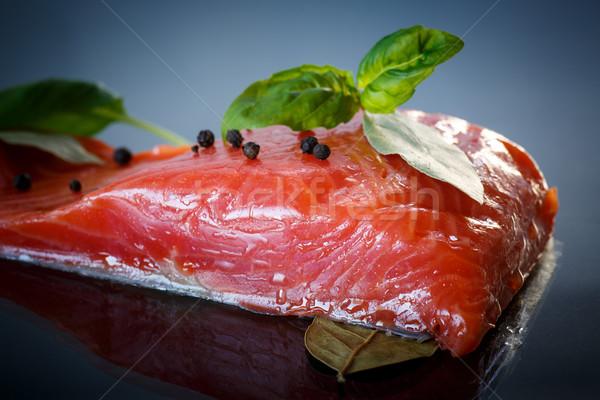 Sózott lazac piros hal pázsit sötét Stock fotó © Peredniankina
