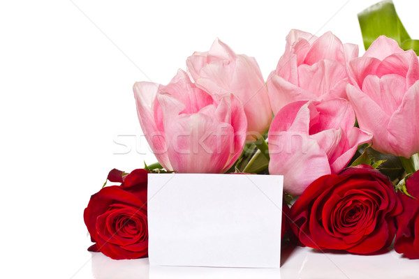 bouquet of roses and tulips Stock photo © Peredniankina