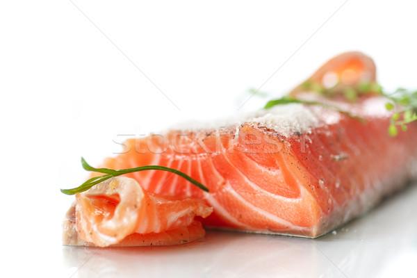 Salado salmón sal blanco verde cena Foto stock © Peredniankina