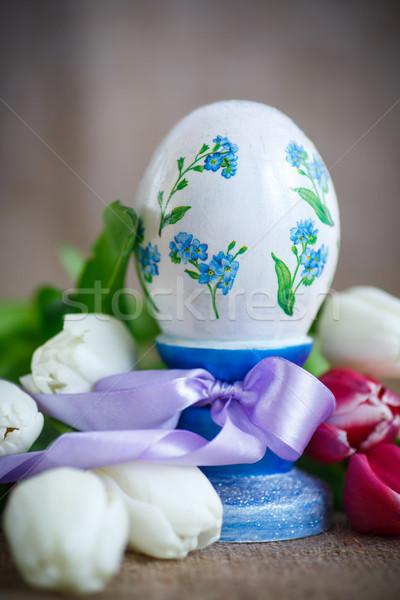 Foto stock: Decorativo · huevo · de · Pascua · ramo · primavera · tulipanes · edad