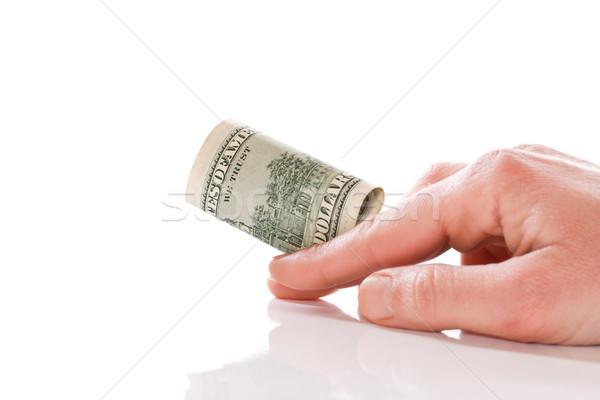 ストックフォト: ドル · 手 · 白 · お金 · にログイン
