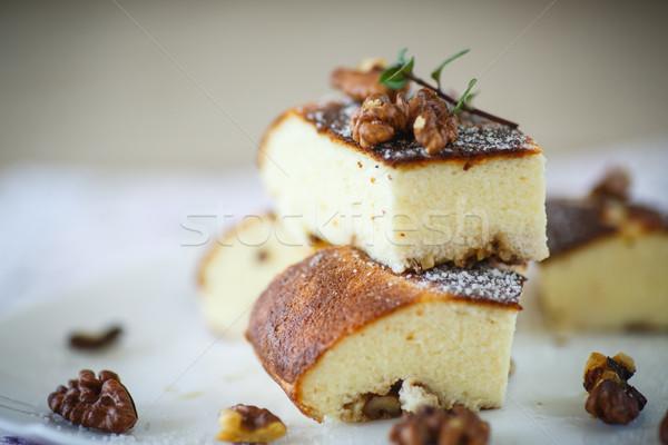 Cottage cheese casserole with walnuts Stock photo © Peredniankina