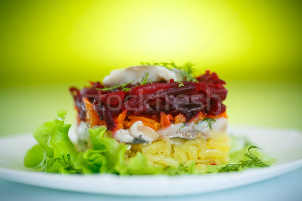 salad with herring and boiled vegetables Stock photo © Peredniankina