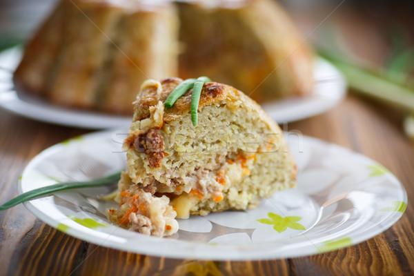 Stockfoto: Aardappel · groenten · binnenkant · plantaardige · vulling · plaat