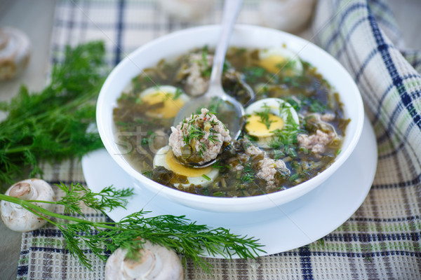 sorrel soup with meatballs and eggs Stock photo © Peredniankina