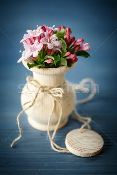Virágzó gyönyörű fa váza asztal virág Stock fotó © Peredniankina