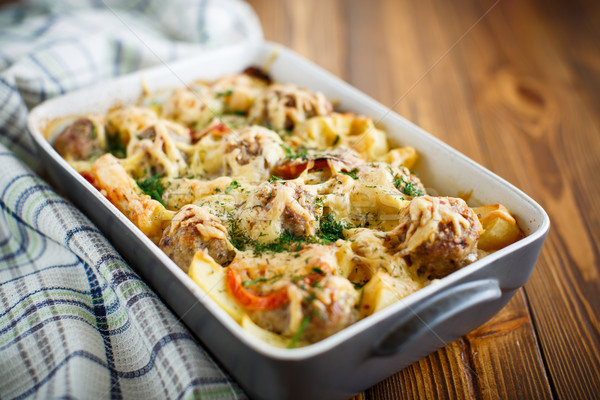 Vegetable casserole with potatoes and meatballs  Stock photo © Peredniankina