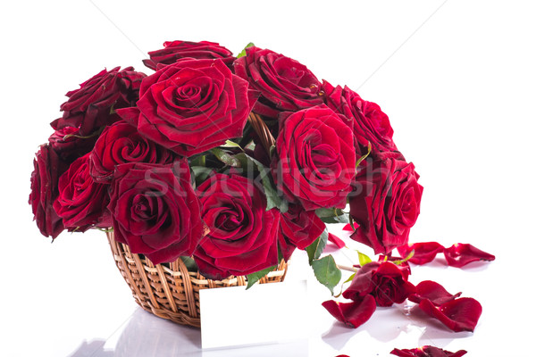 roses in a wicker basket Stock photo © Peredniankina
