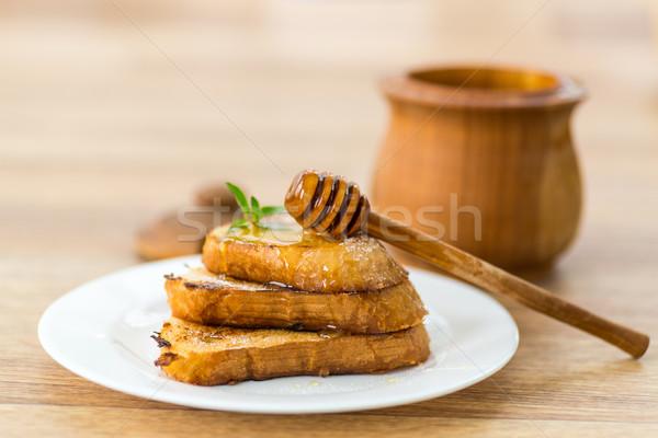 Ekmek bal nane plaka hayat Stok fotoğraf © Peredniankina