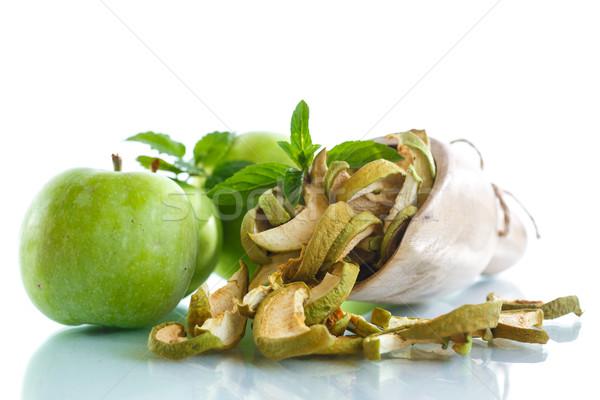 Aszalt almák friss fehér étel alma Stock fotó © Peredniankina