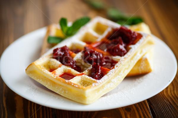 сахарная пудра пластина продовольствие фрукты завтрак свежие Сток-фото © Peredniankina