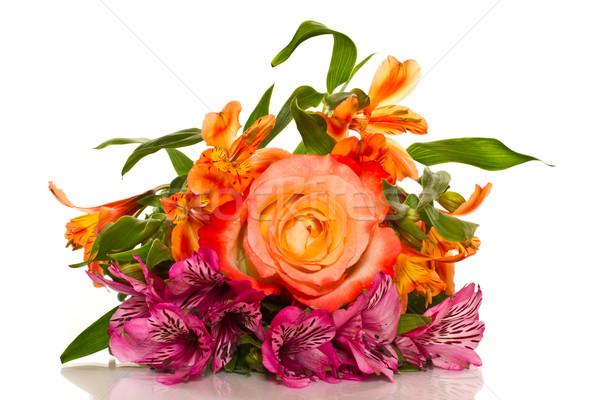 Сток-фото: букет · роз · белый · весны · свадьба