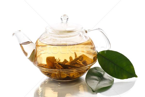 Groene thee theepot witte voedsel glas groene Stockfoto © Peredniankina