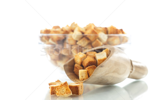 Házi készítésű sült kenyér reggeli eszik fehér Stock fotó © Peredniankina