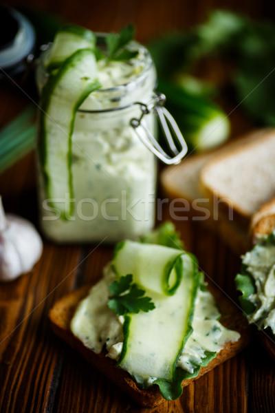 Zdjęcia stock: Makaronu · ser · jaj · czosnku · toast