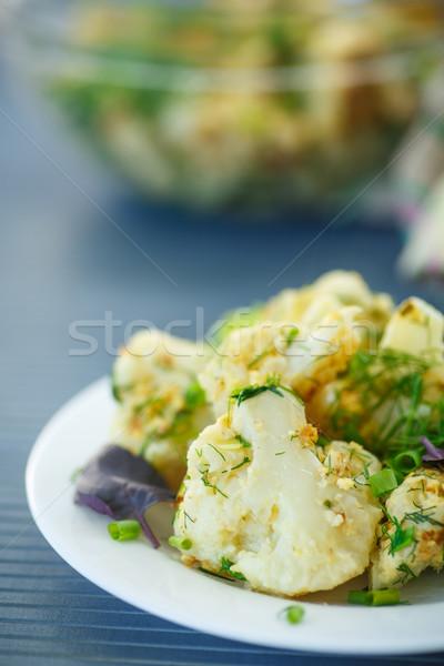 ストックフォト: フライド · カリフラワー · ハーブ · プレート · 食品 · チーズ