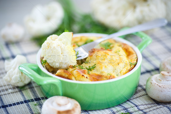 cauliflower baked with egg and cheese Stock photo © Peredniankina
