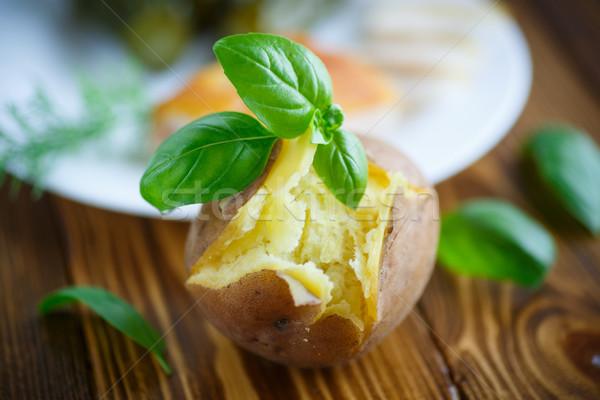 Gekookt houten tafel voedsel huid koken Stockfoto © Peredniankina