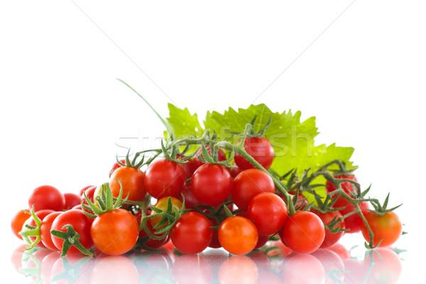 Koktélparadicsom kicsi fehér étel gyümölcs zöld Stock fotó © Peredniankina