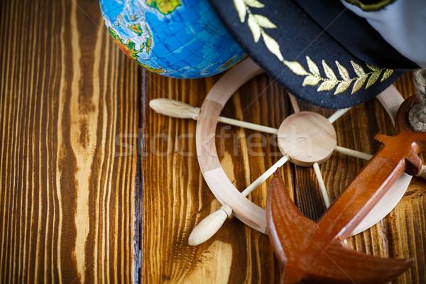 Decorativo volante velho mesa de madeira madeira Foto stock © Peredniankina