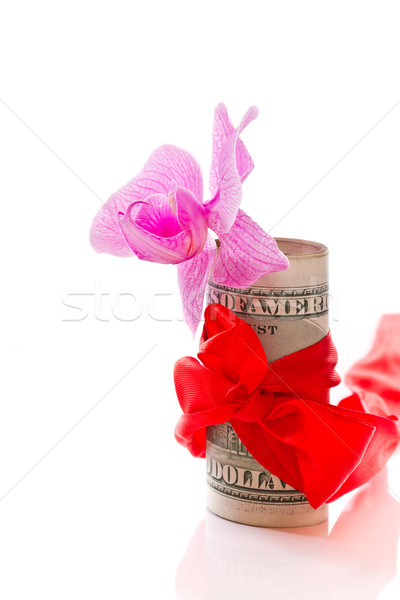 Dollar boeg geschenk witte bloem bloemen Stockfoto © Peredniankina
