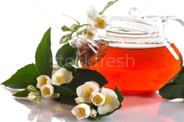 Duftenden Tee Teekanne weiß Sommer trinken Stock foto © Peredniankina