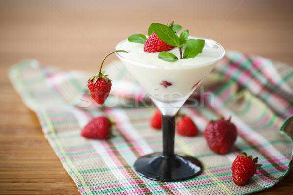 milk with strawberry jelly  Stock photo © Peredniankina