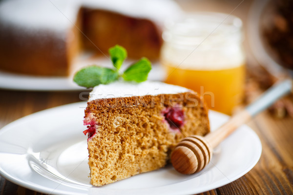 sweet honey cake with cherries  Stock photo © Peredniankina