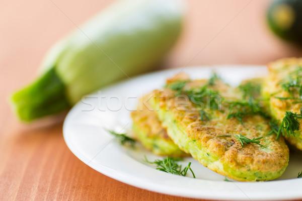 Stockfoto: Courgette · pannenkoeken · achtergrond · restaurant · ontbijt